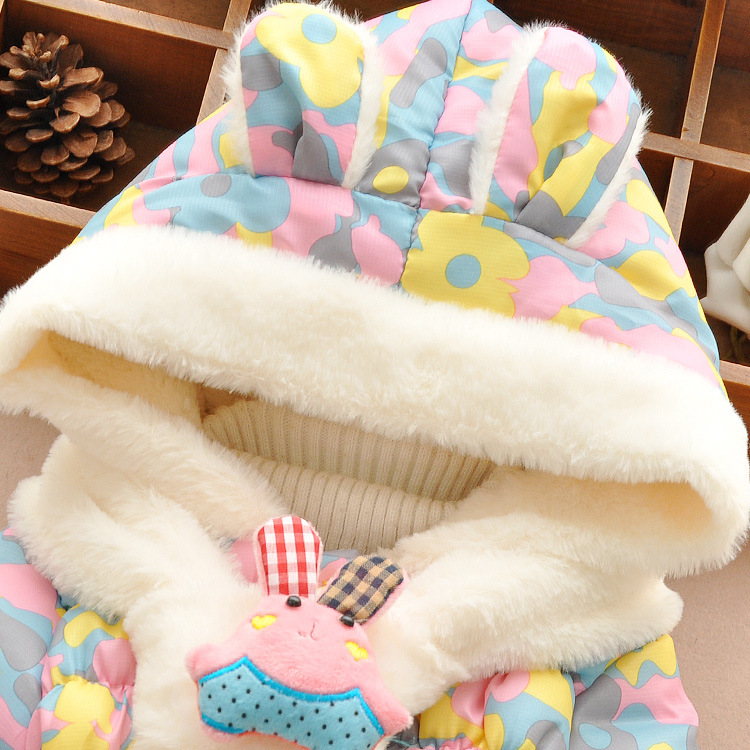 Красивая детская зимняя куртка с милым зайцем теплая куртка с хлопковым утеплителем верхняя одежда для девочек парка для мальчиков для мал...