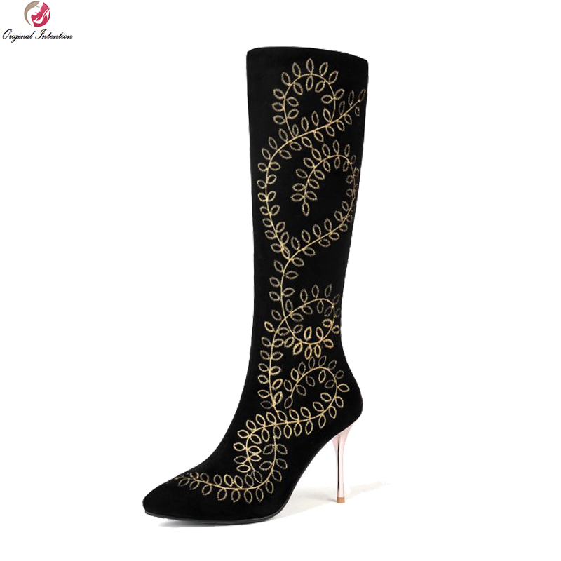 Original Intention Fashion Women Knee High Boots Suede Pointed Toe Thin High Heels Boots Black Shoes Woman Plus US Size 3-13Original Intention Fashion Women Knee High Boots Suede Pointed Toe Thin High Heels Boots Black Shoes Woman Plus US Size 3-13