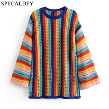 2018 Autumn Crochet Sweaters Women Sweaters And Pullovers Runway Brand Long  Rainbow Striped Sweater Plus Size e248f1caf544