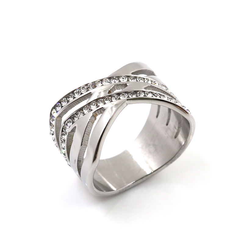 Designer Rings Two Row Crystal Wave X Ring Stainless Steel White