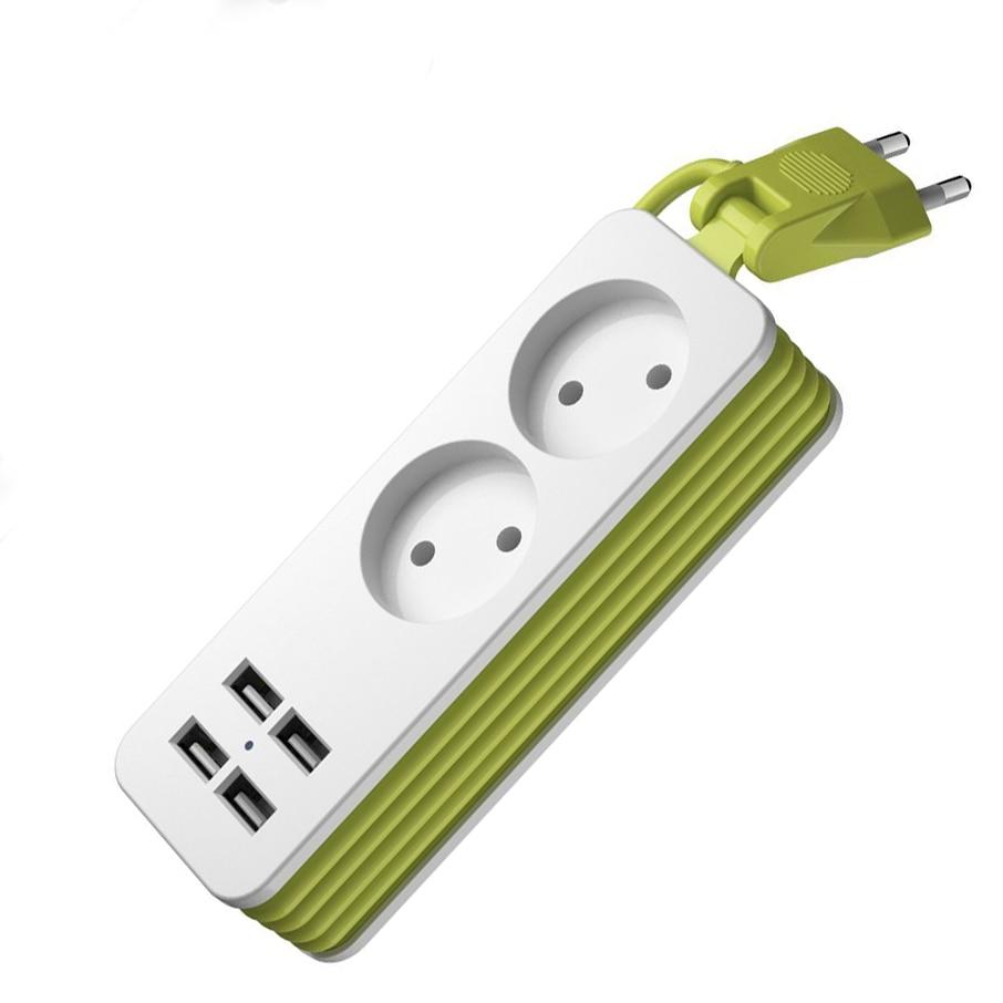 Power-Strip Cable Smartphones Multiple-Socket Eu-Plug 250V Wall 1200W 4 For 4-Usb-Port