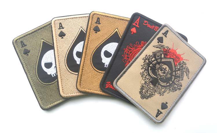 Tad Death Card Rectangular Badge Embroidery Poker Tactical Badges Hook And Loop Military Morale Armband Army Combat Badge Special Summer Sale Home & Garden