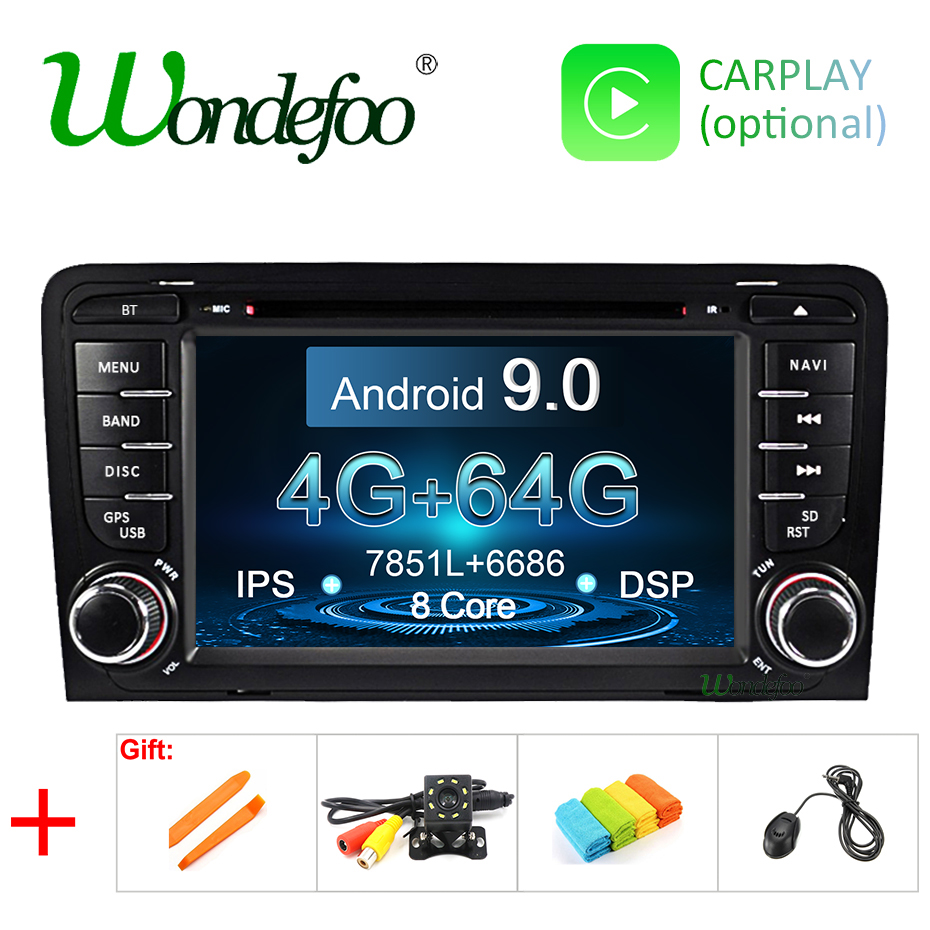 DSP IPS Android 9 0 4G 64G 2 DIN CAR DVD GPS For Audi A3 8P