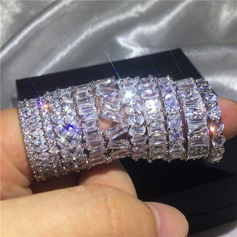 Mode 12 Styles Doigt anneau 925 En argent Sterling AAAAA Cubique Zircone Parti Wedding Band Anneaux pour femmes hommes Bijoux Cadeau