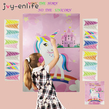 Unicorn Party Game Pin The Horn On The Unicorn 72x54cm Paper Wall Stickers Home Decoration Unicorn Birthday Party Supplies meidding unicorn party decor game paper wall stickers kids unicorn birthday party decoration pin the horn on unicorn supplies