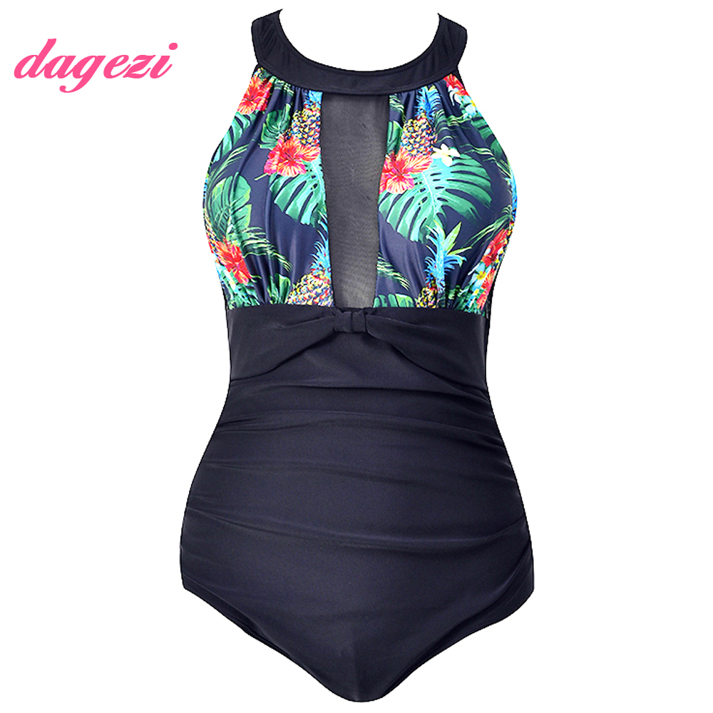 Women Floral Printed Plus Size One Piece Swimsuit 2018 Retro Large Size Lace Swimwear Bodysuit Full Coverage Halter Bathing Suit plus size lace fringed three piece swimwear