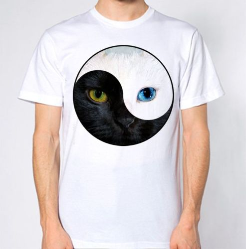 YING YANG T Shirt Hipster Tumblr Hippie Hippy Retro Design Cat Kitten Animal custom printed tshirt Comfortable t shirt