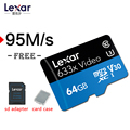 Lexar 95MB/s micro sd 633x 16GB tf cards 32gb SDHC Class10 64G 128G Memory sd Card adapter UHS-1 for Drone Gopro/DJI