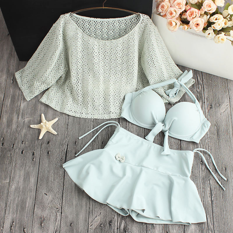 2018 New South Korea Hot Spring Small Fresh Conservative Chest Gather Skirt Lace Three Piece Suit Female Swimwear Bikinis staerk swimsuit skirt type conjoined steel supporting small chest belly thin cover gather conservative large code hot swimwear