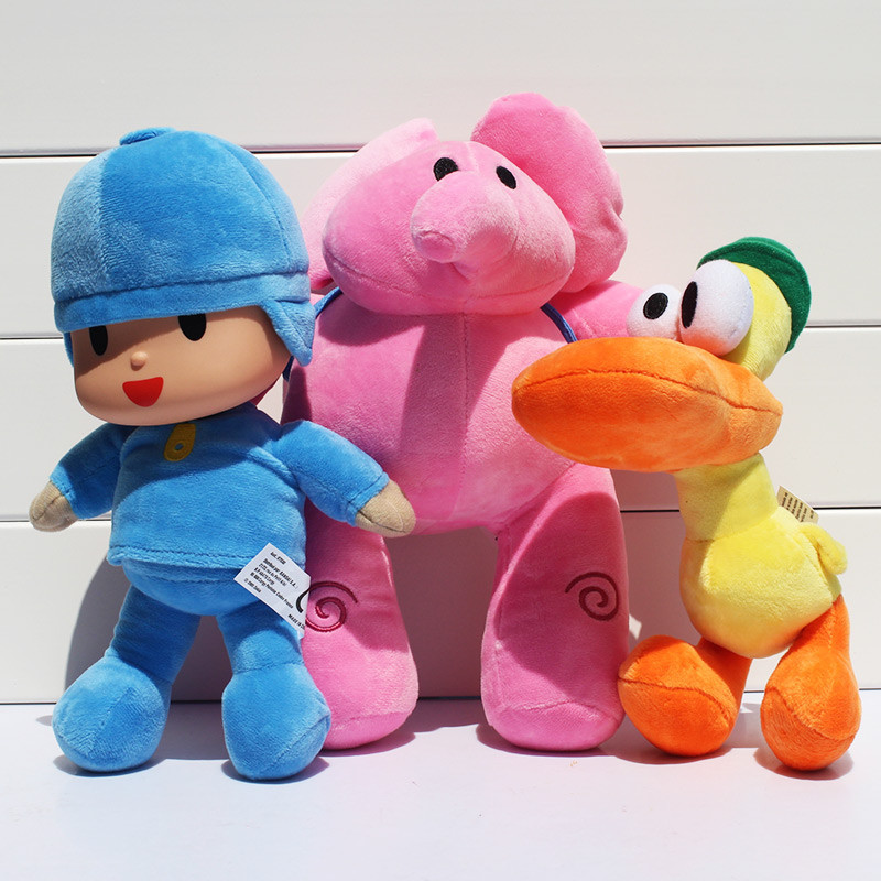 1Pcs 20-30CM Pocoyo Elly Elephants Plush Pato Duck Stuffed Toys Animals Dolls