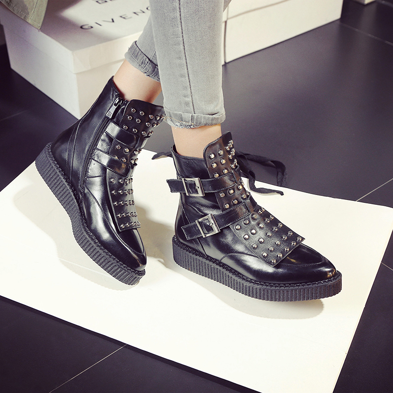 Women Full Grain Leather Buckle Rivets Casual Flat Spring Autumn Ankle Boots Real Leather Round Toe Lady Boots 20170217 stylesowner british women martin boots belt buckle rivets round toe flat knight boots motocyle real leather cool boots female
