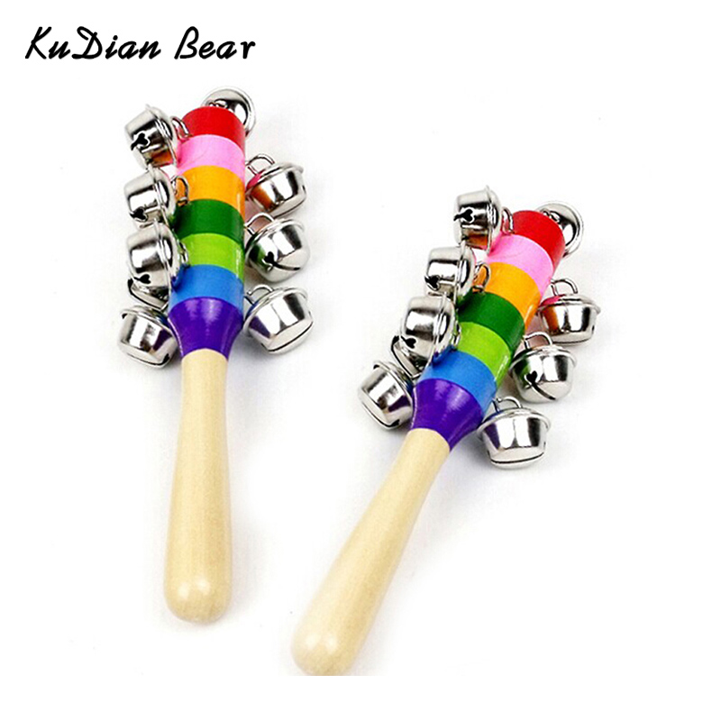 Baby Rattle Rainbow Musical Instrument Toy Wooden Hand Jingle Ring Bell Rattles Baby Kid -- BYC016 PT49