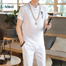 LOLDEAL Chinese Style Suit Men's Summer Embroidery Men's Cotton and Linen Short-sleeved T-shirt + Pants Suit
