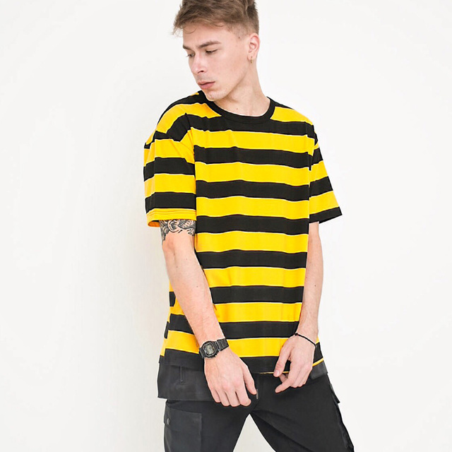 5b06a23e 2018 100% cotton yellow striped hip hop street T-shirt man fashion US size t  shirts men summer short sleeve oversize o-neck tops