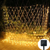 Solar Christmas LED Net Mesh String Light 1.1X1.1M/2X3M Waterprooof Outdoor Garden Wedding Window Curtain Net Fairy String Light