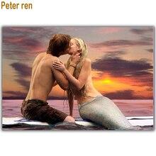 Peter ren diamond painting cross stitch 5 Round & Square  Mosaic rhinestone Full embroidery with diamonds Mermaid Lovers kiss