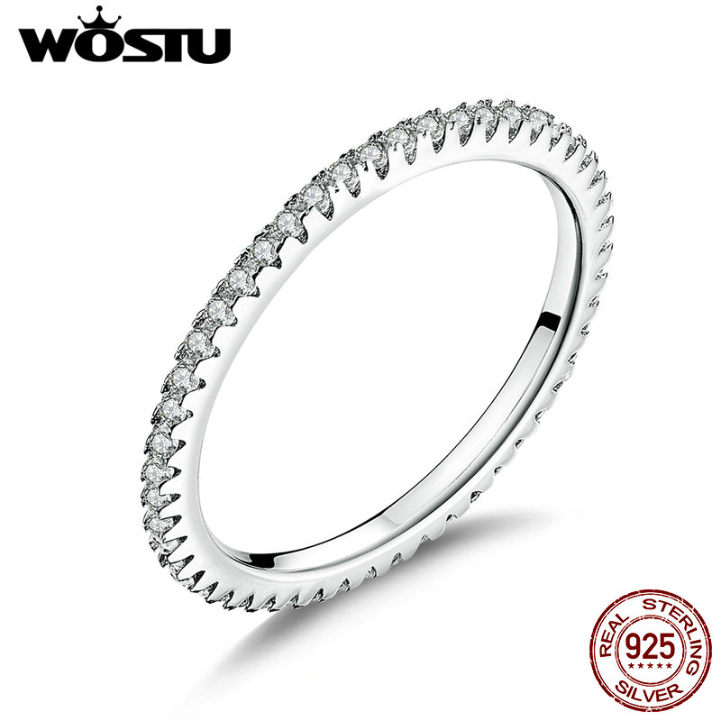 Image 5 - WOSTU Fashionable Stackable Ring 100% 925 Sterling Silver Circle Geometric Rings Zircon For Women Wedding Jewelry Gift FIR066rings for women weddingfashion rings for womenrings for women -