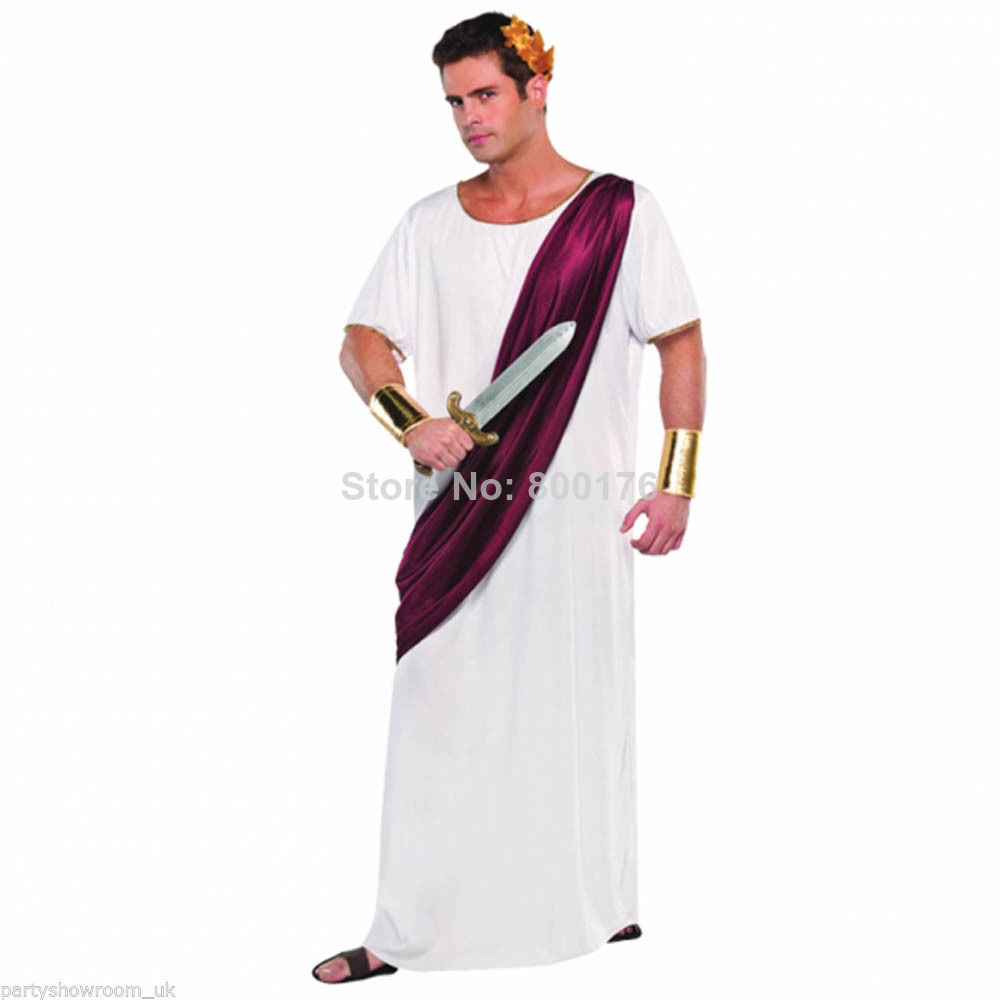 Free shipping zy389 Cheap Roman Adult Noble Greek White Toga Ceasar Men Empire Imperial sexy movie Caesar Emperor Costumes image