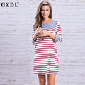 New Women's Casual Straight Dress Vestido Three Quarter Sleeve O Neck Striped Modal Women Autumn Fashion Party Dresses CL3261