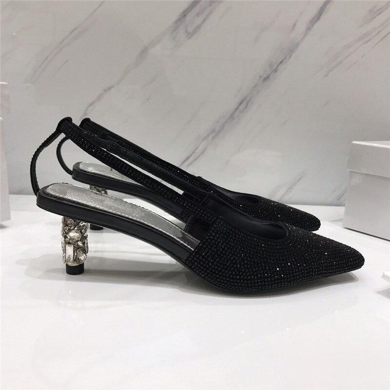 silver Pompes De Cristal Bout Zapatos Carré 2019 Talon green Forage Vacances Femme Élégant Mujer Chaussures Étrange Black Peu Talons Mode Profonde Strass 1UAAdwfSq