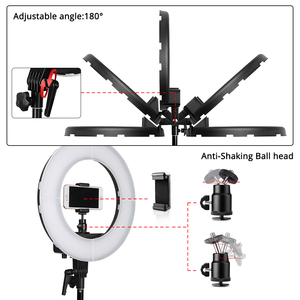 Image 2 - samtian ring lamp 18 inch ring light with tripod makeup mirror phone clip ring lamps dimmable 5500K for Youtube ringlight