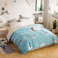 Cartoon Blue Baby Animal Pattern Single Duvet Cover King Size 200X220cm 100% Cotton Comforter Blanket Cover For Husband Bedding