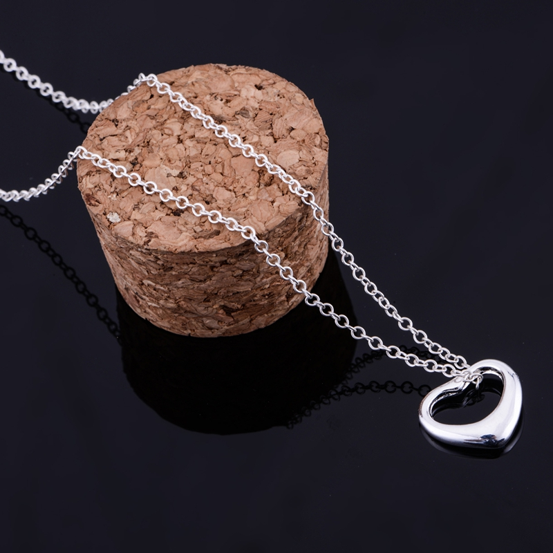 cordiform shiny light silver plated Necklace 925 jewelry silver Pandant Fashion Jewelry QYFYZFTM
