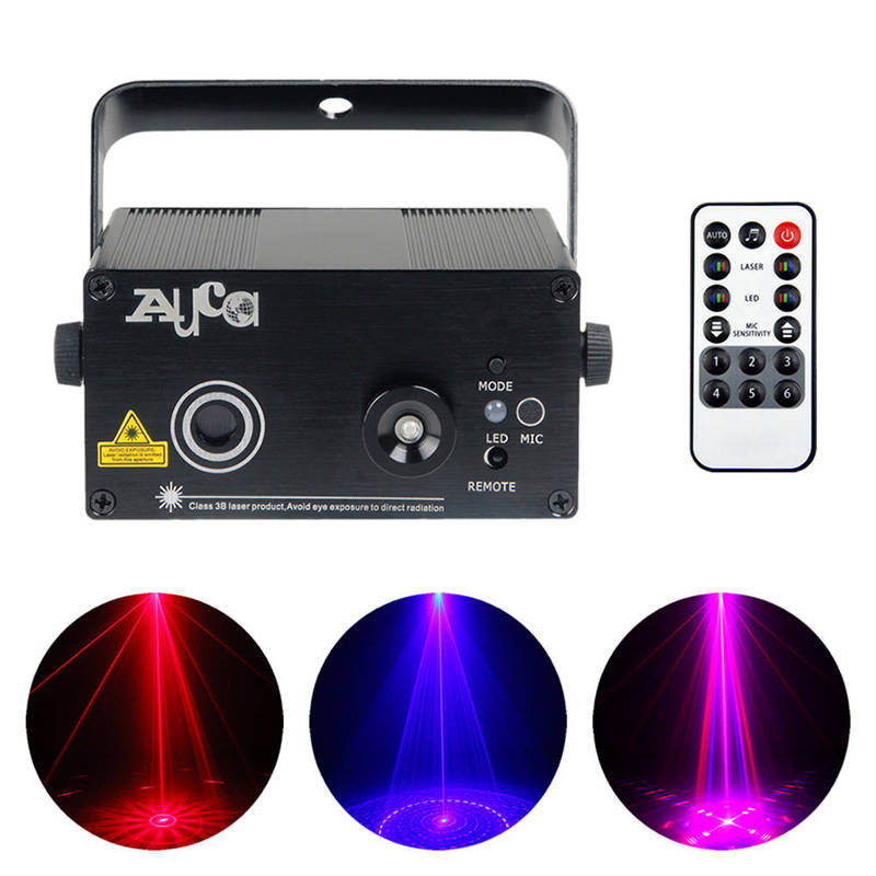 AUCD Mini Remote 8 Patterns Red Blue Laser Projector Lights 3W Blue LED Mix Effect DJ Home Party Club Show Stage Lighting Z08RB new mini red blue line pattern gobo remote laser projector dj club light dance bar party xmas disco effect stage lights show b55
