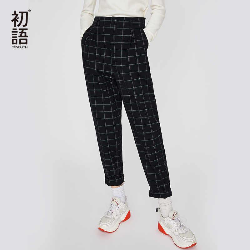 nuevo estilo 04837 86502 Toyouth Black Vintage Plaid Pants Women Straight Chic Pants Harajuku  Checked Trousers Slim Female Loose Pantalon Mujer Bottom