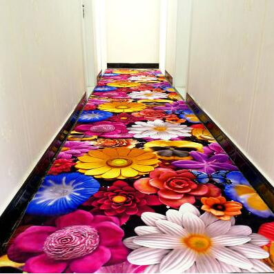 3D creative flower carpet printing Hallway Carpets door mat Bedroom Living Room Tea Table Rugs Kitchen Bathroom Antiskid Mats