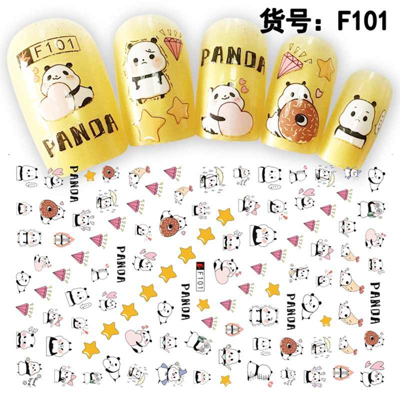1 лист 3D милый мультфильм Пикачу панда Chibi Maruko медведь шаблон клей для ногтей наклейки украшения «сделай сам» салонные советы F101-104