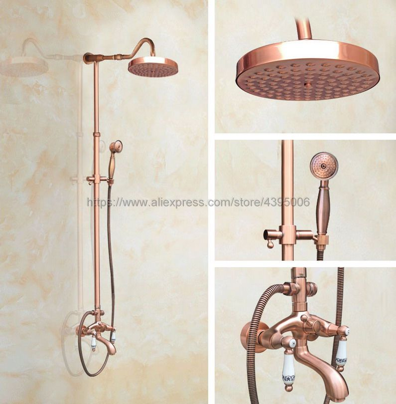 Antique Red Copper Wall Mount Bathroom Shower Faucet Double Handle Bath Tub Shower Mixers with Handshower Brg633