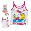 Розничная летом розовый фиолетовый привет китти ребенка топы девушки тройники дети футболки рубашки младенческой футболка одежда малышей одежда