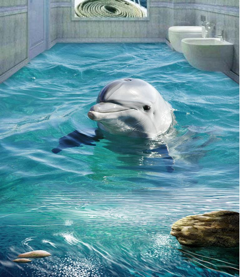 Dolphin 3D wall murals wallpaper floor  Custom Photo self-adhesive 3D floor Home Decoration  PVC waterproof floor