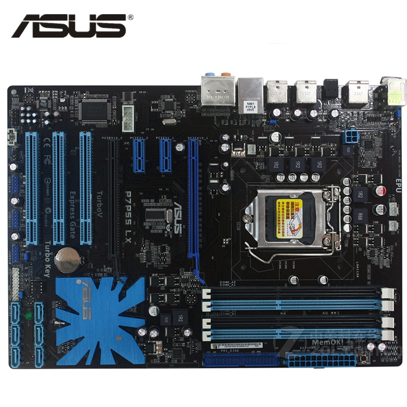 ASUS P7P55 LX Motherboard LGA 1156 DDR3 16GB For Intel P55 P7P55 LX Desktop Mainboard Systemboard SATA II PCI-E X16 Used