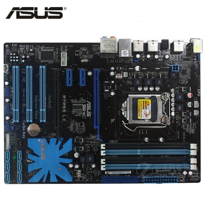 ASUS P7P55 LX Carte Mère LGA 1156 DDR3 16 GB Pour Intel P55 P7P55 LX De Bureau Carte Mère Systemboard SATA II PCI-E x16 Utilisé