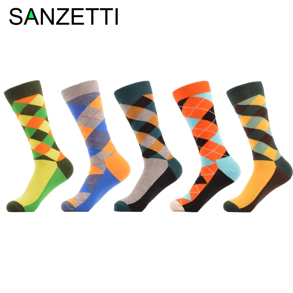 SANZETTI 5 pair/lot Colorful Bright Colorful Argyle Style Combed Cotton Socks Casual Men Socks Dress Wedding Gift