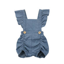 Summer Newborn Baby Girls Ruffles Romper Jumpsuit Denim Jeans Sunsuit Outfits Baby Clothing(China)