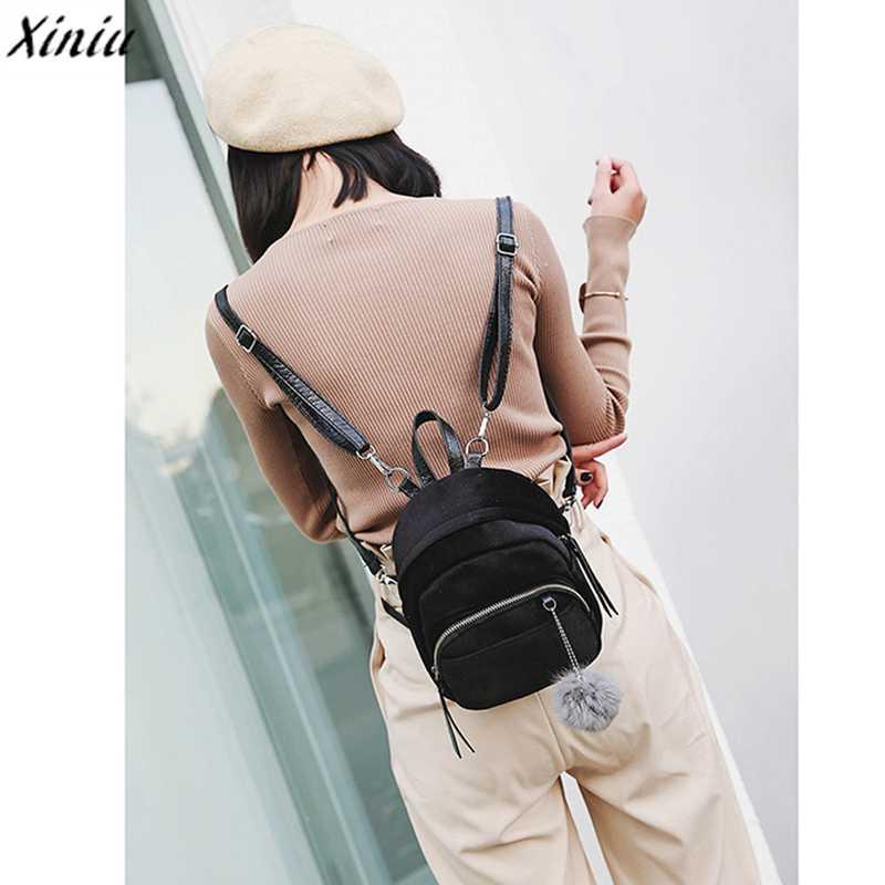 Backpack Women Fashion Velvet Small Mini Backpack Solid Women Girls Travel School Bag For Women Rucksack With Mini Fur Ball