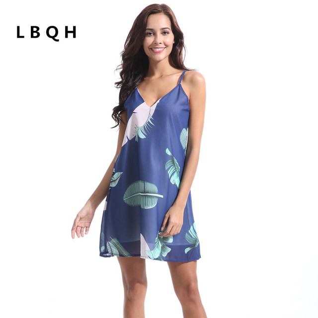 LBQH 2018 summer Ms fashion New Sexy V collar Dresses high quality printing Palm leaf Chiffon Women Sling blue white garment