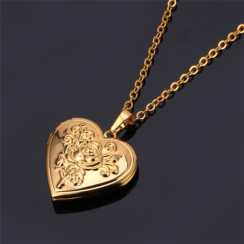 Collare Heart Photo Locket Necklaces Pendants GoldSilver Color