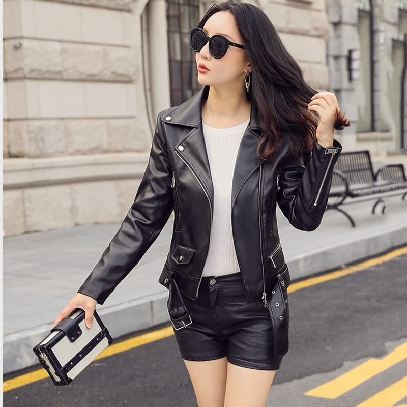 2019 spring and autumn new casual motorcycle   leather   jacket imitation cotton PU   leather   women short slim jacket