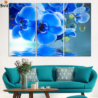 3 Piece Purple Flowers Paintings Water Side Orchid Art Modern Abstract Home Decor Wall Landscape Picture