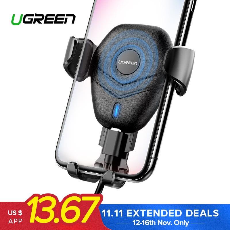 Ugreen автомобильное крепление Qi Беспроводной Зарядное устройство для iPhone XS X XR 8 быстро Беспроводной зарядки для samsung Galaxy S9 S8 автомобильный держатель телефона