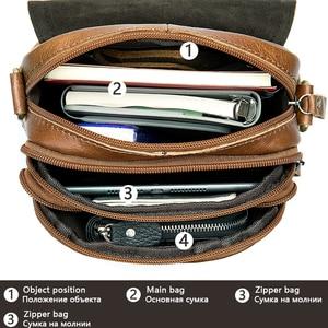 Image 3 - WESTAL Bolso de hombro de piel auténtica para hombre, bandolera vintage, diseño de bolsos, 8558