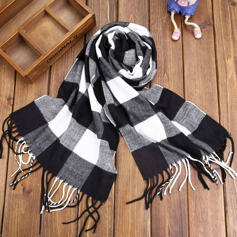 brand new winter large girls scarf plaid long boys kids children's women lady cashmere scarves wool thinker classic