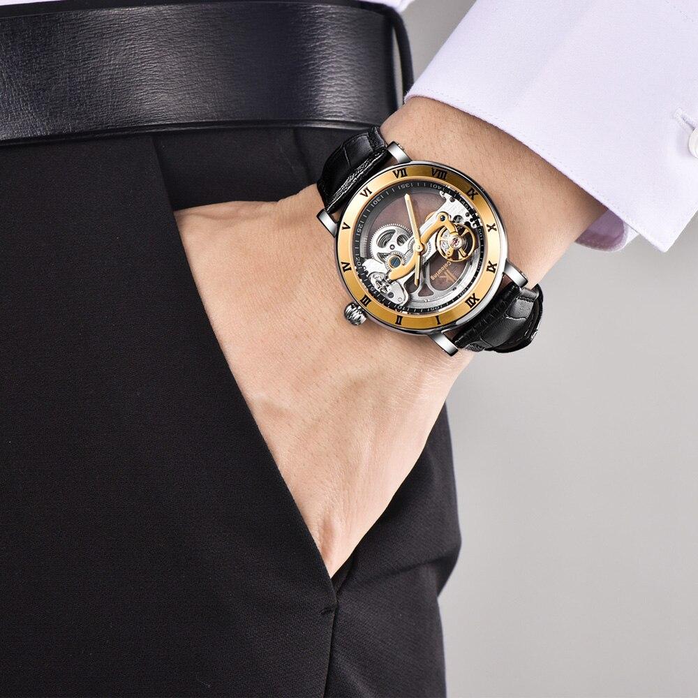 IK Coloring Male Clock Men\'s Mechanical Wrist Watch Bridge Leather ...