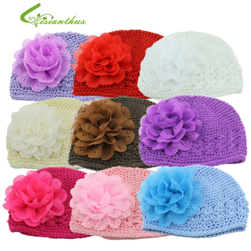 Baby Flower Hats Girls Hollow Out Knitting Wool Caps New Beanies Spring Autumn Headwear Photography Props Accessories Free Ship