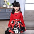 2016 spring girls Roses dress for 4 5 10 11 12 Years teenage girls clothing red full sleeve flower shirt dress Children Clothing