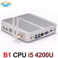Без вентилятора 4 К HTPC ТВ коробка Nuc компьютер Barebone Mini PC I5 4200u с Intel Core i5 4200U Max 16 г Оперативная память 512 г SSD 1 ТБ HDD Windows 10
